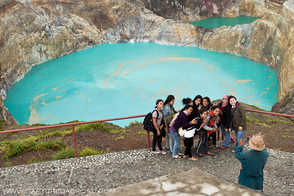 Tourists at three Crater Lakes at Mt Kelimutu, Flores