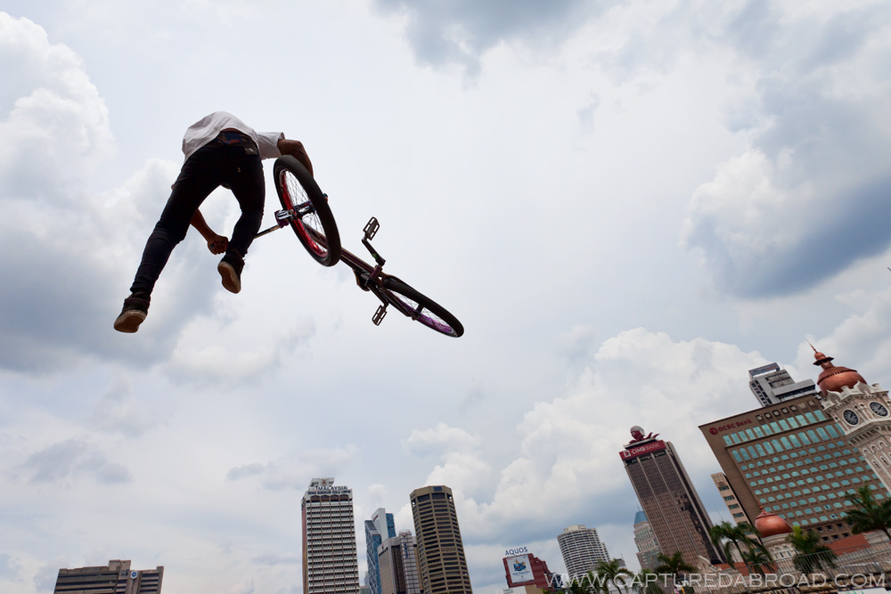 BMX Flying high over Merdeka Square, Kuala Lumpur