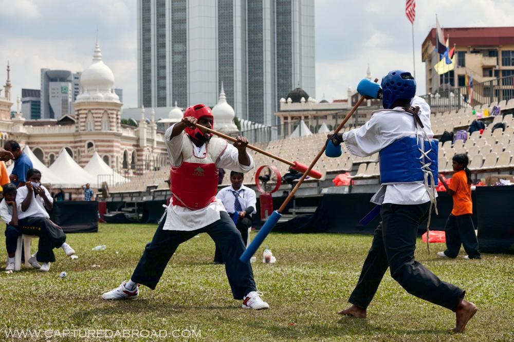 Stick fighting in Merdeka Square, Kuala Lumpur