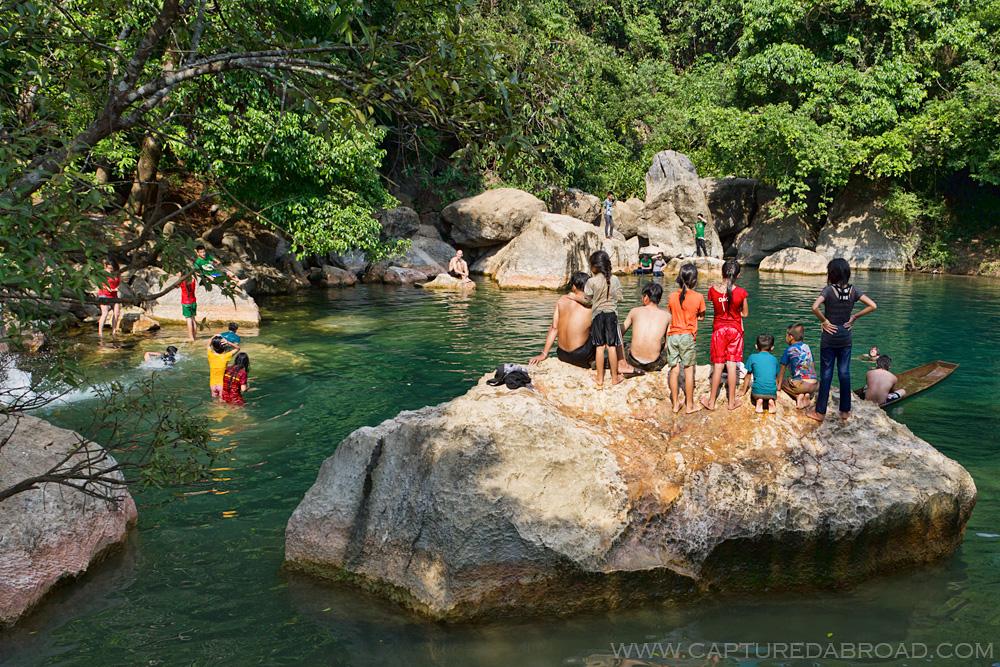 """Cool Spring at Bo Houay Namgen on the """"Thakhek loop"""""""