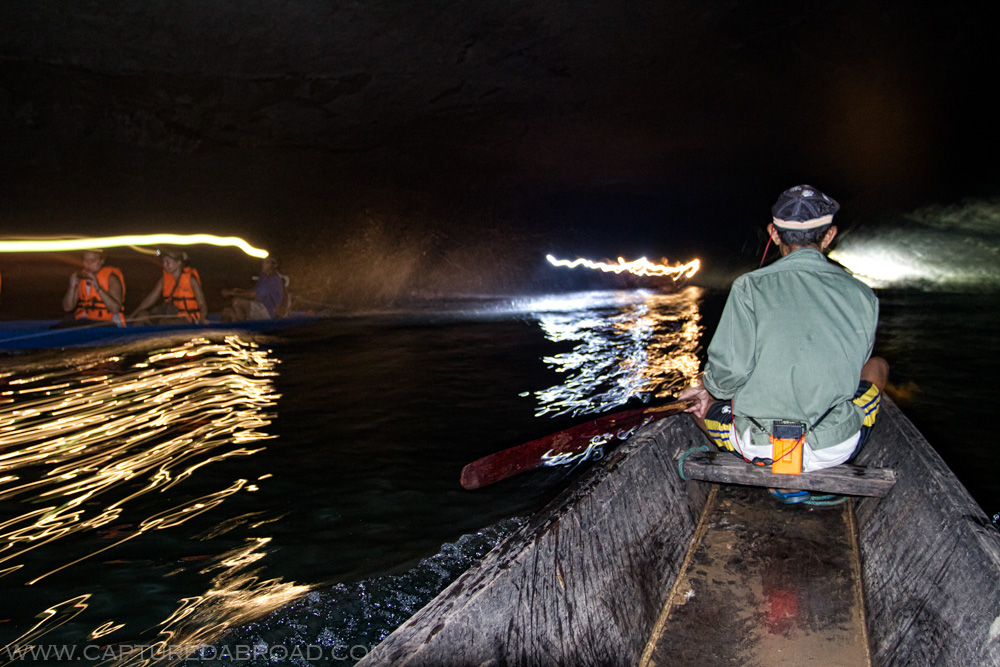 Wooden canoe ride through the impressively long (7km) Konglor cave