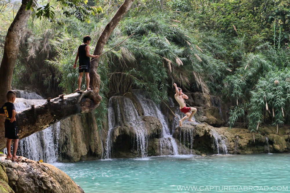Kuang Si waterfall, Luang Prabang - rope swing