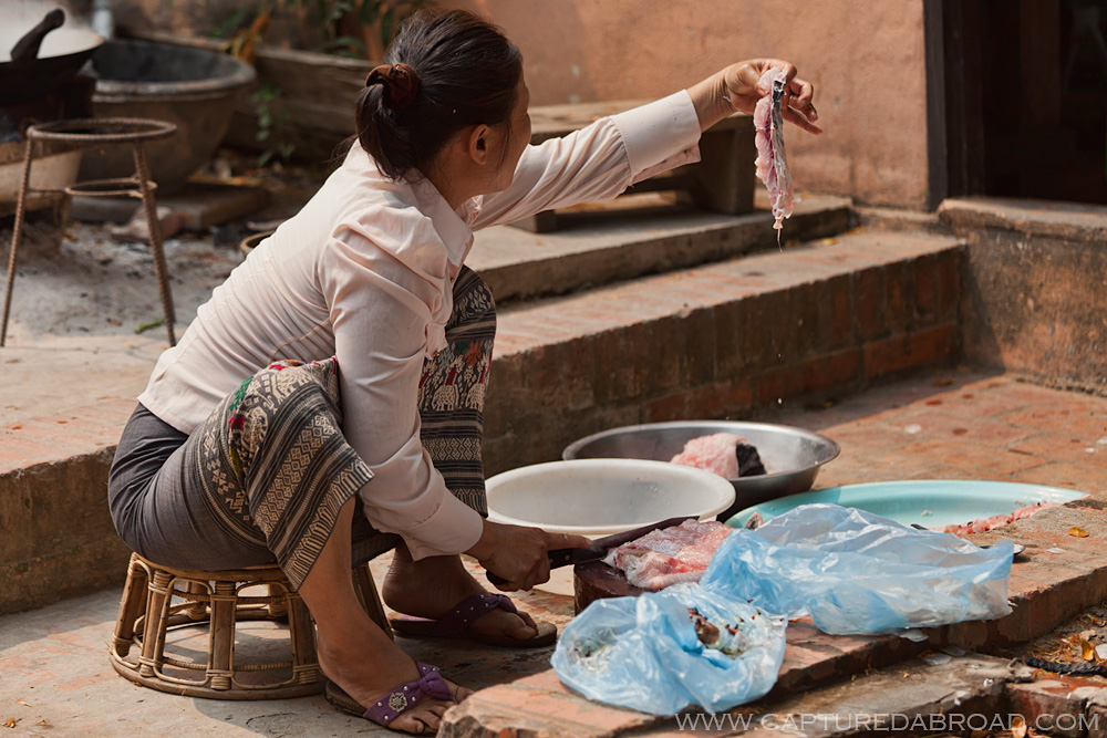 Cleaning/gutting fish in the street in Luang Prabang