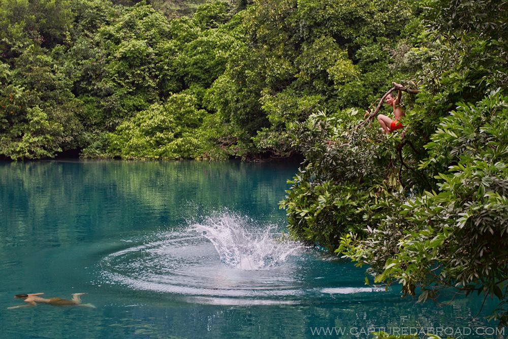Monks playing in the mystical Kongleng lake