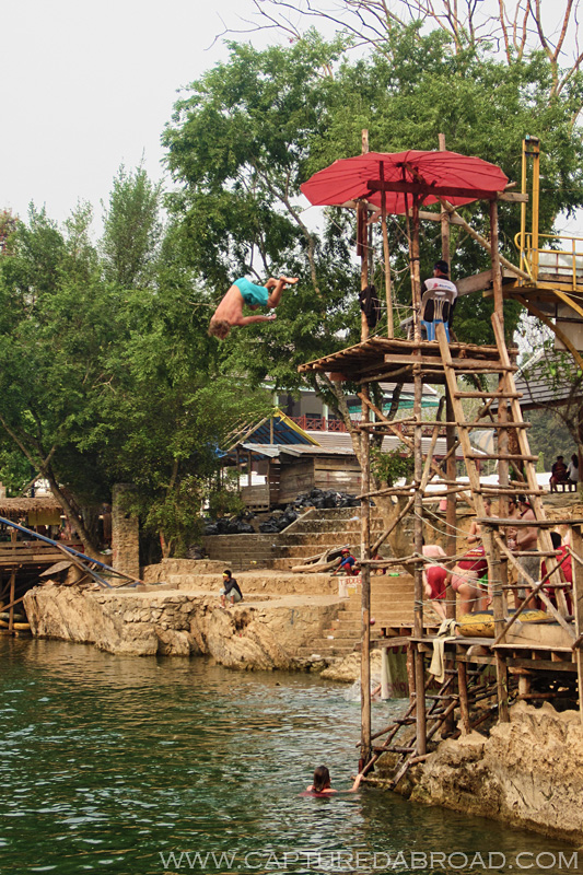 High Dive while tubing in Vang Vieng