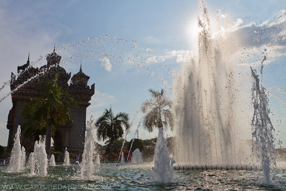 Victory Gate/Patuxai and fountain - Vientiane