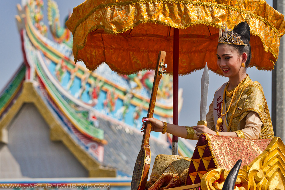 Pi Mai Celebrations in Vientiane, Laos, beauty pageant, temple