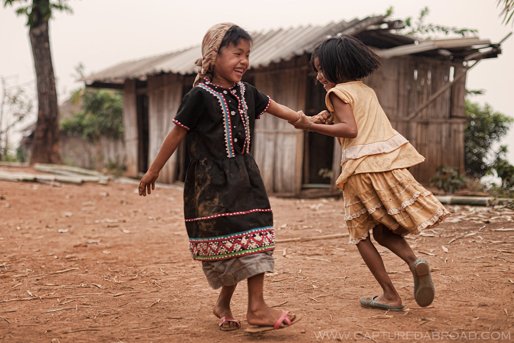 Kids dancing at Lahu village outside Chiang Mai