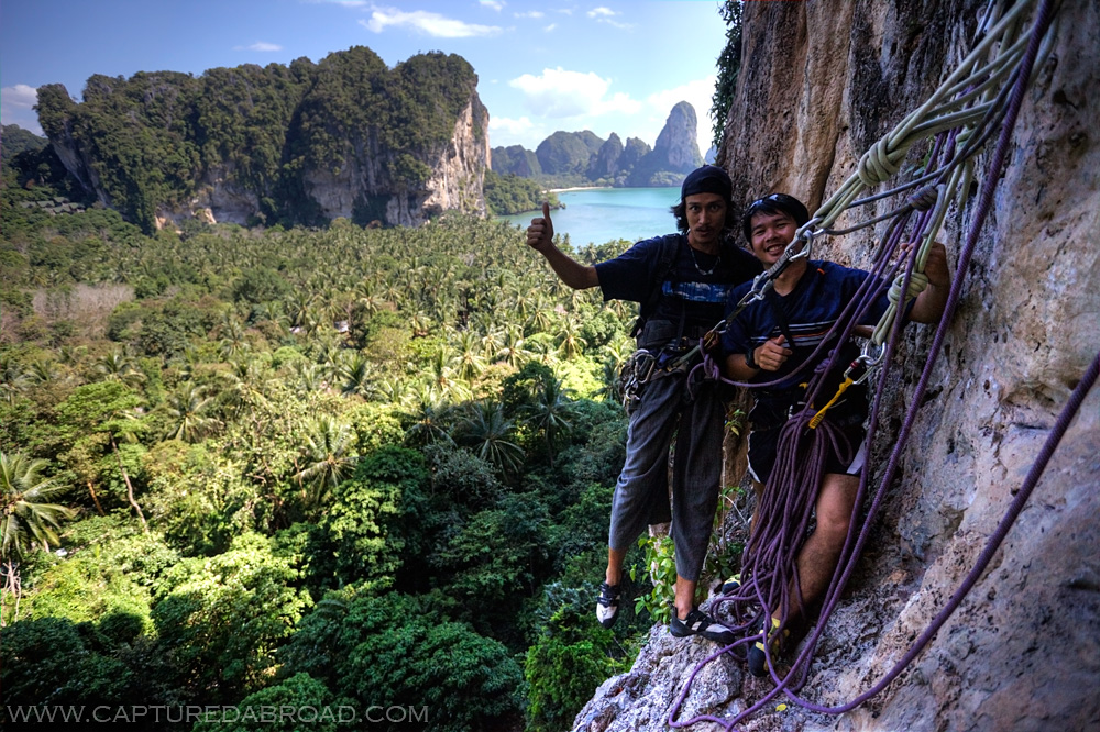 Multi pitch rock climbing above Ton Sai, Krabi