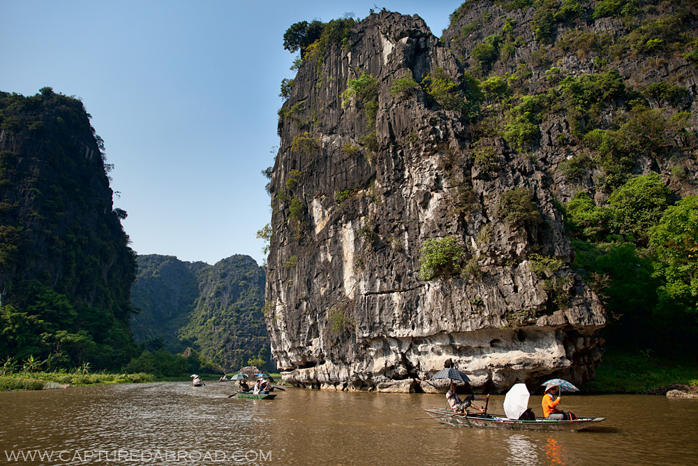 Boating down Tam Coc in Ninh Binh