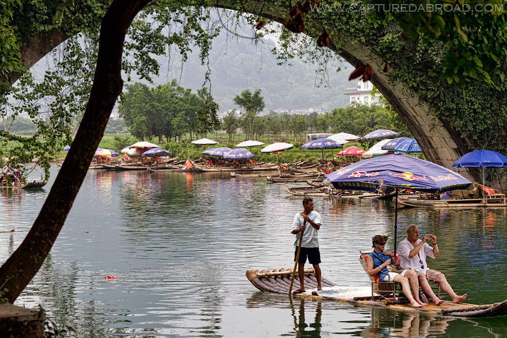 Rafting past the Dragon bridge, Yulong river