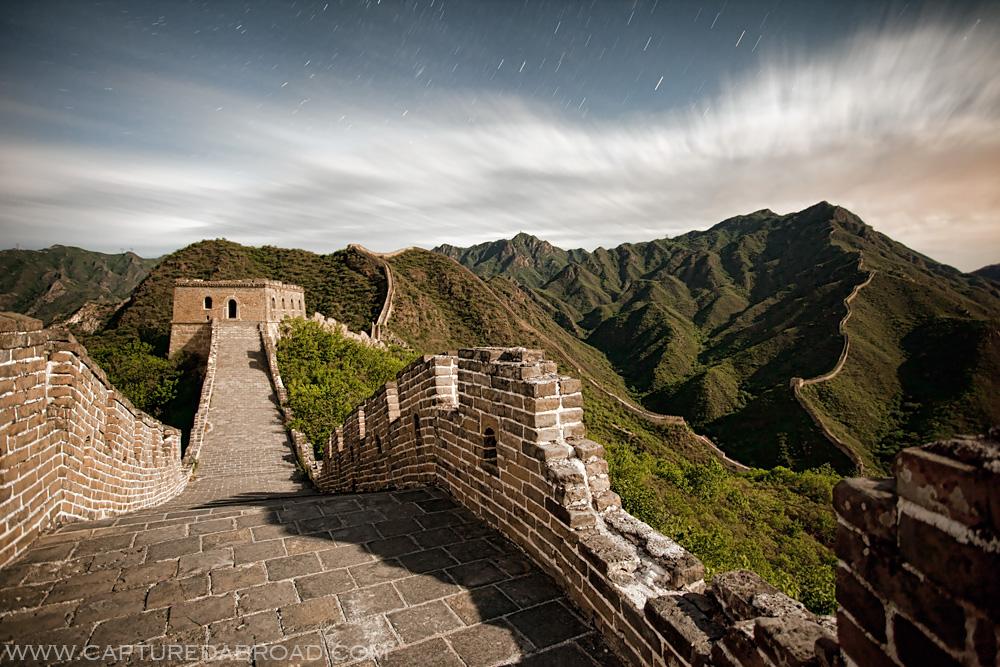 Great Wall of China under moonlight