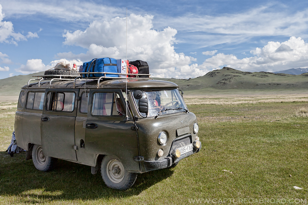 Green grass, russian van, mongolia, transport