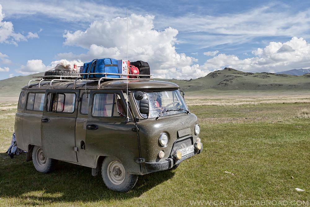 Green grass, russian van, mongolia, transport