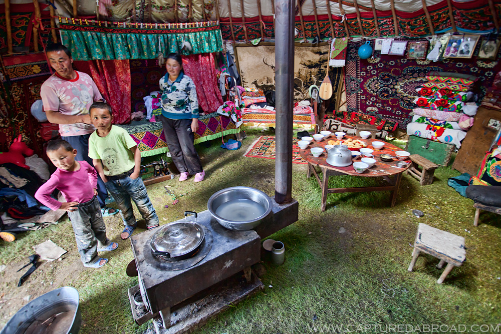 Mongolian ger/yurt, their living room, kitchen and bedroom