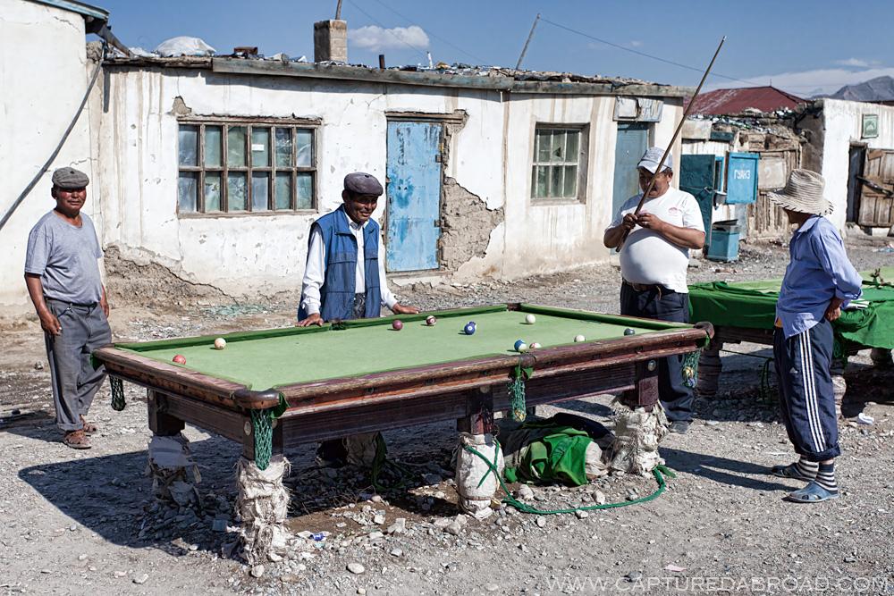 Outdoor pool in the sun, black markets Bayan Ölgii Mongolia