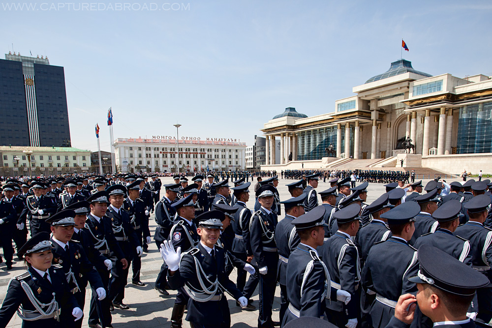Officer waves in Sukhbaatar Square, Ulan Bator - Mongolia