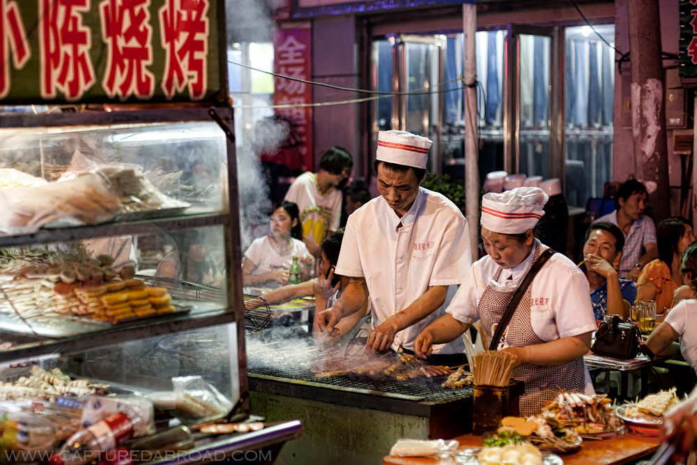 Night food markets in Urumqi, bbq