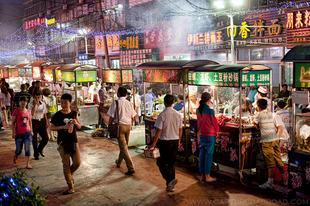 Night food markets in Urumqi