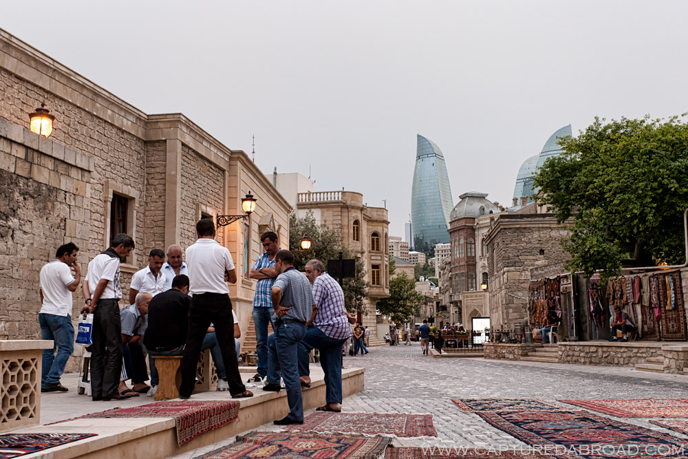 The Icheri Sheher (old town) with the Flame towers in the distance