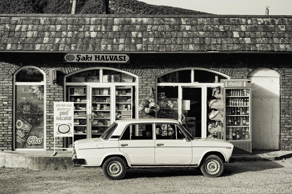The ubiquitous Lada, parked outside a shop selling Şeki halvasi