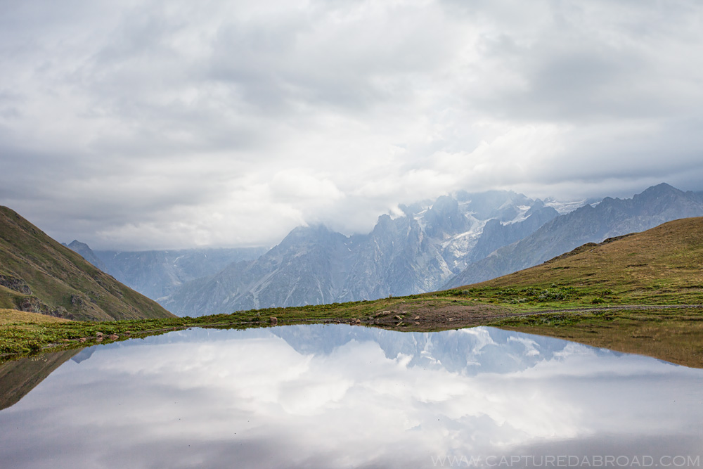 Russian mountains reflect off Lake Koruldi, Mestia