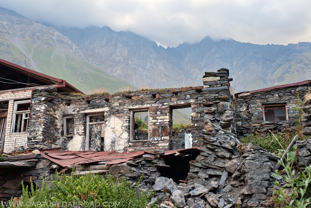 Ruins in the town of Kazbegi