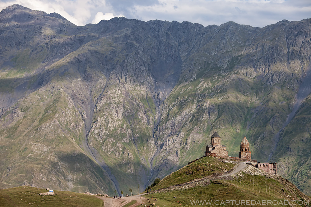 The beautifully placed Gergeti trinity church in Kazbegi