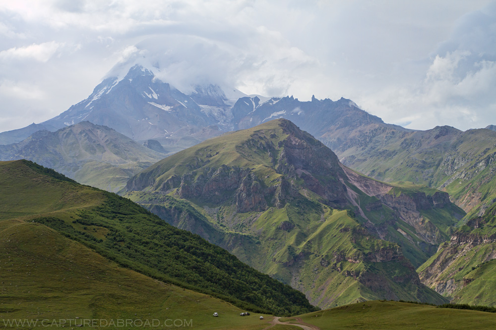View towards Mt Kazbek in the Kazbegi region