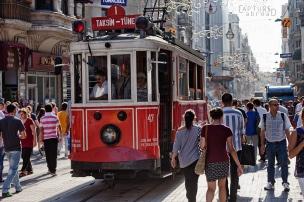 Tram enroute to Taksim along Istiklal Caddesi